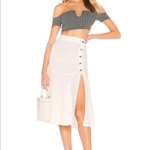Free People | Poppy Flounced Midi Skirt in White